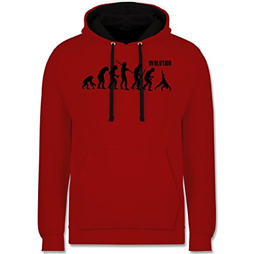 Shirtracer Evolution - Turnen Evolution - S - Rot/Schwarz - JH003 - Kontrast Hoodie