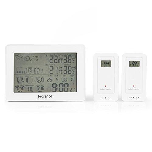 Tecvance Wetterstation mit 2x Außensensor - Funkwetterstation mit Farbdisplay - Innen- und Außentemperaturanzeige - inkl. Batterie - Wetterstation funk in weiß