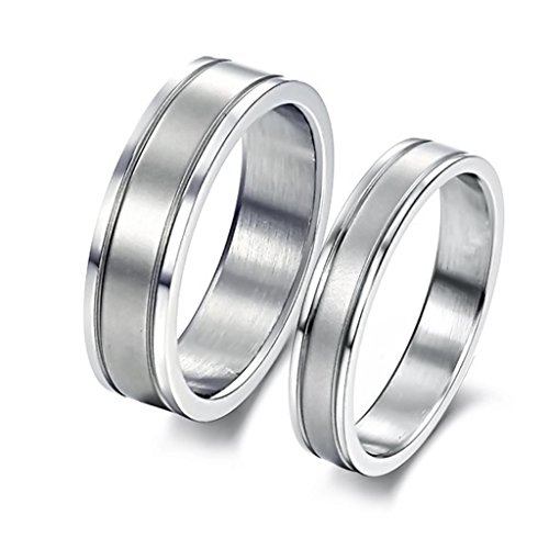 Bishilin Edelstahlring Matte Fertig Herren Eheringe 6MM Silber Tone Größe 60 (19.1)