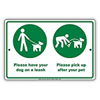 """St574ony Metal Sign 8""""X12"""" Please Have Your Dog On A Leash And Pick Up After Your Pet With Graphics Notice Prompt slogan Note Metal Sign Plate"""