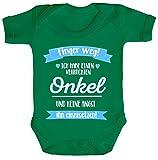ShirtStreet Lustige Geschenkidee Strampler Bio Baumwoll Baby Body kurzarm Ich habe einen verrückten Onkel, Größe: 3-6 Monate,Kelly Green