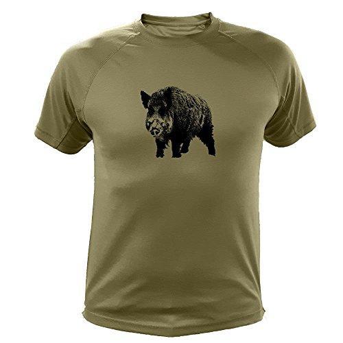 Lustiges Geschenk für Jäger Wildschwein einzeln - Jäger T shirt (20186, Grun, XL)