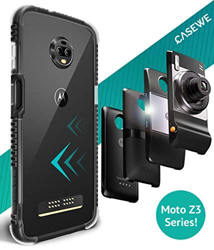 Casewe - Motorola Moto Z3/Z3 Play Protettivo Bumper Case Cover/Compatibile con Tutte Le MOD Moto - Chiaro Nero Opaco