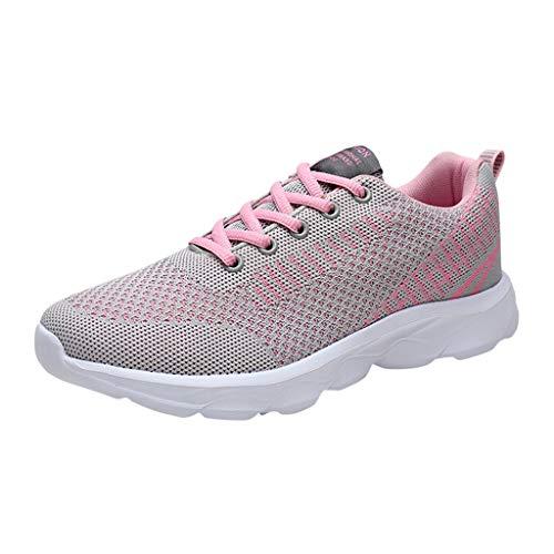 DAIFINEY Damen Sportschuhe Laufschuhe Reisen Freizeit Flach rutschfest Atmungsaktiv Leicht(Pink,36)
