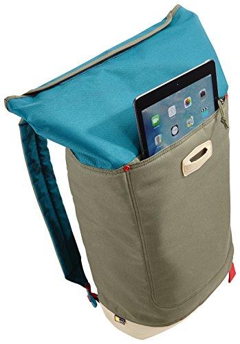 Case Logic LAR114PTG Larimer Rolltop Notebook Rucksack 35,6 cm (14 Zoll) mit Tablet-Fach Petrol grün