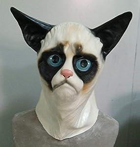 The Rubber Plantation TM 619219293549 - Máscara de látex siamés para gato, diseño de Tom Animal, accesorio para disfraz de Halloween, adulto unisex, talla única