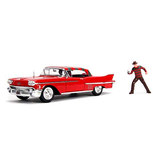 Jada- Pesadilla en ELM Street Coche Cadillac Series 62 1958 Metal con Figura 1:24 coleccionismo, Color Rojo (253255004)