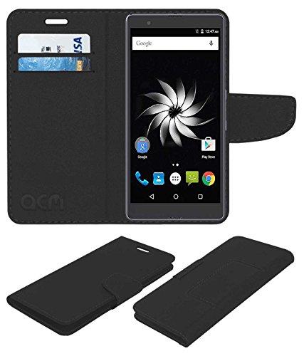 ACM Mobile Leather Flip Flap Wallet Case for Yu Yureka Note Mobile Cover Black