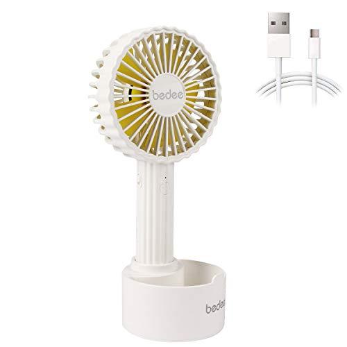 bedee Ventilador de Mano,Mini Ventilador Portatil de Mano para Exteriores con USB batería Recargable de 1200 mAh,3 Niveles de Velocidad Ajustables,casa y Viajes(Blanco)