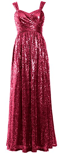 MACloth Women Elegant Sequin Long Bridesmaid Dress Wedding Party Formal Gown Weinrot