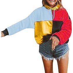 Sudadera con Capuhca Mujer Sudaderas Tumblr Empalme Abrigos Chaquetas Otoño Invierno Tops de Deportivo Sueltos Manga Larga Suéter Camiseta Camisa Casual RISTHY