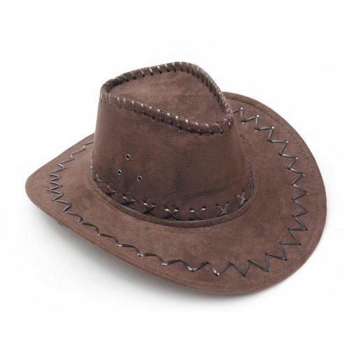 Oscuro Marrón Western Cowboy Cattleman sombrero de vaquera para niños los niños fiestas de disfraces