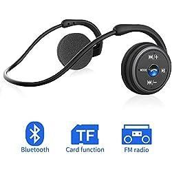 Casque Bluetooth sans Fil 3 en 1, Pliable et Léger, Réduction de Bruit, Écouteurs Bluetooth Sport Stéréo Haute Qualité Audio Over-Ear Mains Libres Supporte Radio FM, Carte TF, Facile à Porte
