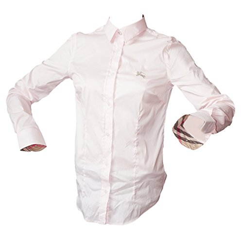 Burberry Brit London Damen Bluse Hemd Weiss (XXL, Rosa)
