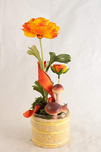 Herbstliches Tischgesteck mit orange/gelben Ranunkeln+Pilzen-Tischdeko mit künstlichen Blumen