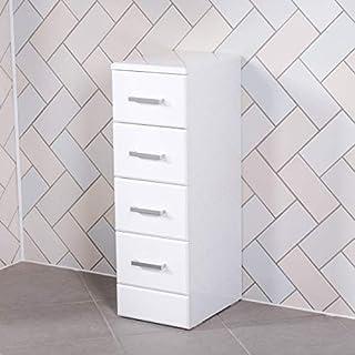 Aquariss Badmöbel Badezimmermöbel Badschrank Multischubladen Freistehend 330mm Weiß