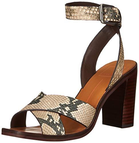 Dolce Vita-gladiator-sandalen (Dolce Vita Damen NALA Sandalen mit Absatz, Black/White Embossed Leather, 38.5 EU)