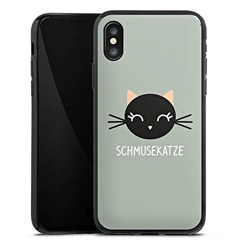 Apple iPhone X Silikon Hülle Case Schutzhülle Katze Cat Kitty Silikon Case schwarz