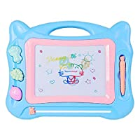 Geekper Magnetic Drawing Board  for Toddlers,Extra Large 13 X 17 Magna Doodles Drawing Board for Kids Colorful Erasable Writing Sketch Pad with 3 Stampers  (Blue)