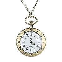 FEELHH Vintage Chain Pocket Watch,Fashion Personalized Pattern Steam Punk Quartz Roman Numerals Watches Men