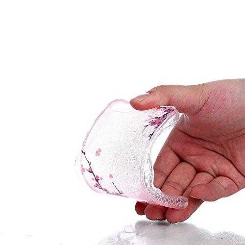 iPhone 7 Hülle (4,7 Zoll), Sunroyal® Weiche TPU Rahmen mit PC Rückdeckel Schutzhülle Bumper Case Hülle ,Ultra Slim Semitransparent Hybrid Bling Glitter Gel Silikon Zurück Buntes Muster Kratzfest Anti- Blume