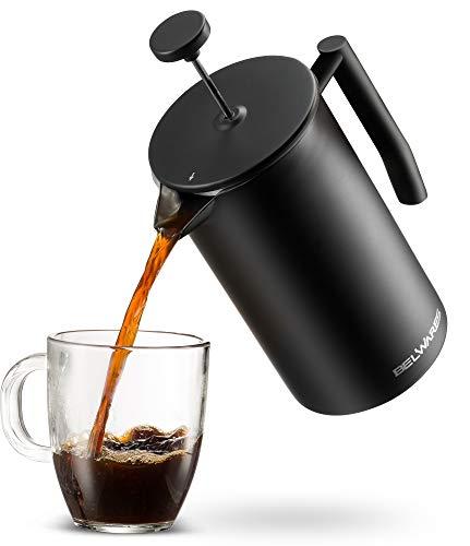 belwares groß Französischen Presse Kaffeemaschine mit extra Filter für ein reicher und größere Kaffee Geschmack, entworfen mit doppelter Wand-Schwarz Edelstahl um wertvolle Hot Kaffee Temperatur 50oz