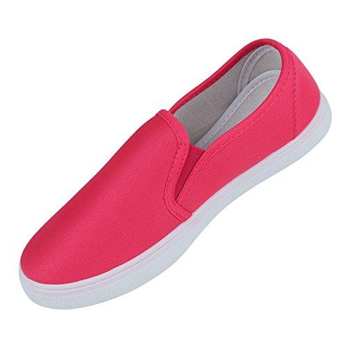 Damen Slip-ons Glitzer Sneakers Helle Sohle Slipper Metallic Pink Stoff