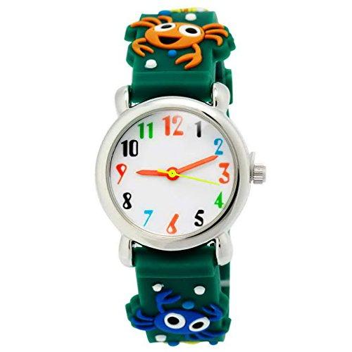 Happy Cherry - Reloj de Pulsera para Niños Niñas de Cuarzo Analogico de Silicona Con Dibujo Cartoon 3D Números Árabes - Verde - Animal de Mar