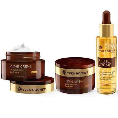 Yves Rocher RICHE CRÈME Pflege-Set, Gesichtspflege-Set für Frauen mit reifer Haut, mit Tages- & Nachtpflege und Schönheitselixier, Beauty Geschenkidee für Frauen
