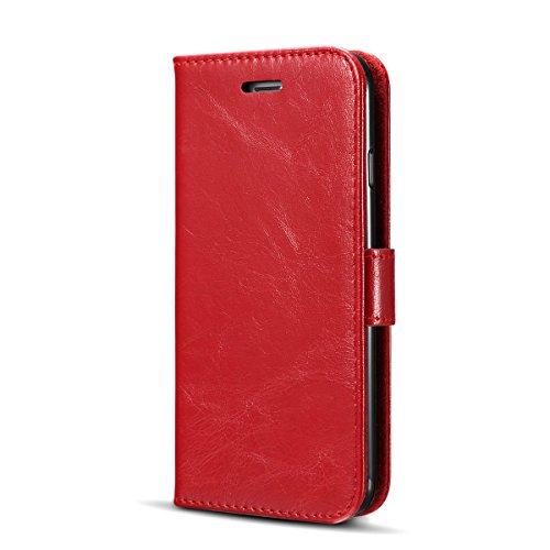 Handyhülle für Apple iPhone 7 4.7 Zoll aufklappbare Hülle Book Style Hardcase Cover in Leder-Optik verschließbare Handy Schutzhülle Rot