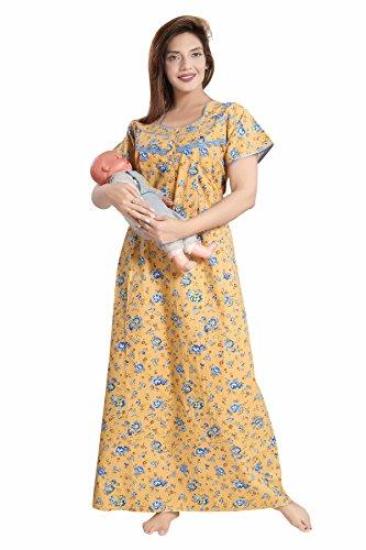Soulemo Women's Cotton Feeding Nighty Maternity Dress (399JL, Honey Gold , Large)