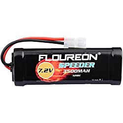FLOUREON 7.2V 3500mAh NiMH 6 Cell Rechargeable RC Battery Pack with Tamiya Plug for Popular Standard RC Cars including Traxxas LOSI mAssociated HPI Tamiya Kyosho (1pack)