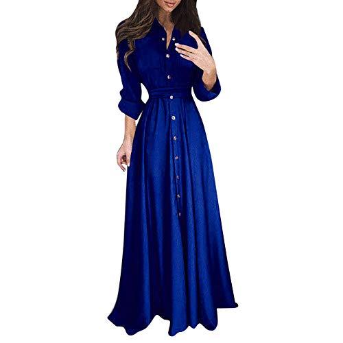 Damen Kleider,Daongff Elegant Maxikleid Vintage 1950erBoho Lang Maxi Kleid Abendkleider Ballkleid Solid Casual Partykleid mit Taschen Gürtel Sleeve Maxi