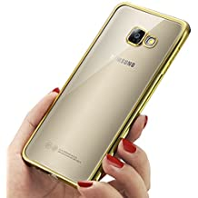 Coque Samsung Galaxy A5 2017, Mture Coque Galaxy A5 2017 [Ultra Mince] Housse TPU [Crystal Clear] Exact Fit Soft Housse Etui Coque Pour Galaxy A5 2017 (Gold)