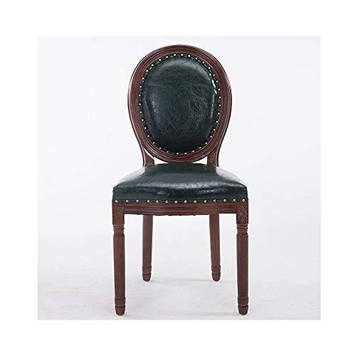 Europäischer speisender Stuhl amerikanischer Stil Massivholz Retro-Rückenstuhl Coffee Shop Stoff Nordic Neue chinesische kreative Verhandlung Tisch und Stühle (Farbe : Green)