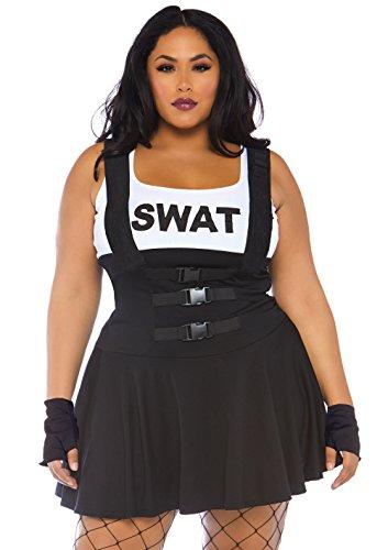 LEG AVENUE 83850X - 2Tl. Swat Einsatzleiterin Kostüm Set, Größe 1x/2x (Schwarz) (Swat Kleid Kostüm)