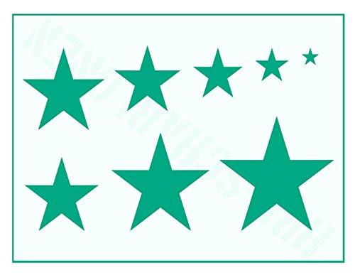 Motiv-Schablone 8 Sterne von 1cm - 7cm - Stern-schablonen