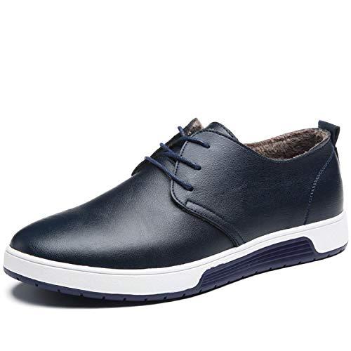 Herren Leder Schuhe mit Warm Gefüttert Business Halbschuhe zum Schnürer Winter Anzugschuhe Oxford Derbys Lederschuhe Wasserdicht Flache Schnürhalbschuhe Männer für Hochzeit Party