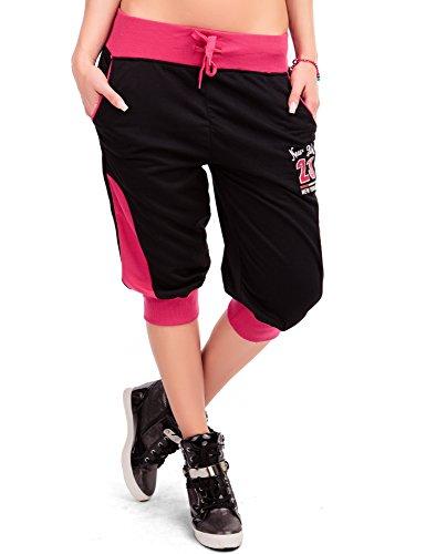 24brands Damen Kurze Hose Caprihose Shorts Bermuda Sporthose Freizeithose Fitnesshose Trainingshose kurz 3/4 Sommer - 2915 Grau/Neonorange