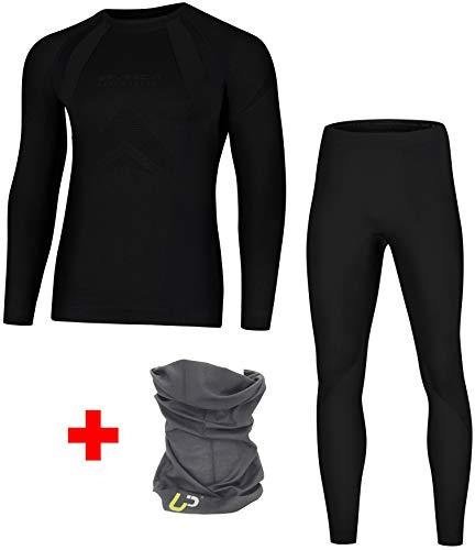 BRUBECK Dry Damen Herren Funktionsunterwäsche + UP Schlauchtuch | Ski | Motorrad | Snowboard | Radsport LS10180 + LE10160 | XL | 05.Dry + UP Schlauchtuch Nero Absoluto