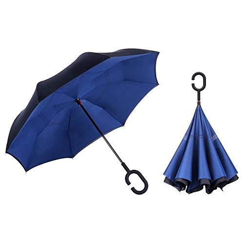 Plus Krücken (Umgekehrter Regenschirm mit Reflexstreifen Inverser Autoregenschirm mit doppelten Schichten Auto-öffnen selbststehender Regenschirm mit C förmiger Krücke plus eine Tragetasche für die freie Hände)