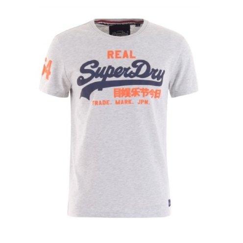 Superdry Herren T-Shirt Vintage Logo Duo, Grau (Ice Marl), (Herstellergröße: Small)