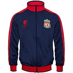 Liverpool FC - Chaqueta de entrenamiento oficial - Para niño - Estilo retro - Azul marino - 10-11 años (LN)