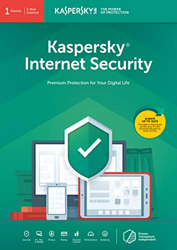 Kaspersky Internet Security 2020 | 1 Device | 1 Year | Antivirus and Secure VPN Included | PC/Mac/Android | Online Code