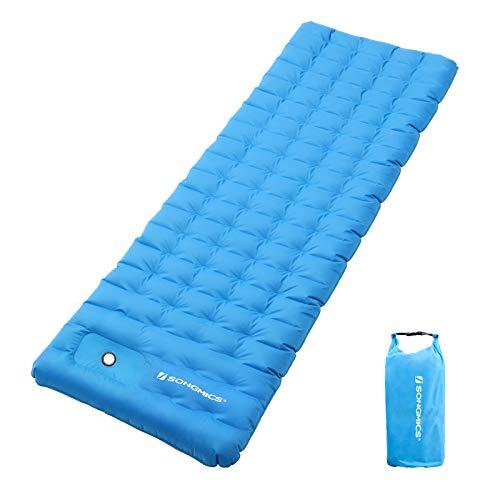 SONGMICS Luftmatratze, aufblasbare Isomatte mit integrierter Pumpe, Dicke Campingmatte, 200 x 70 x 11,5 cm, Mobile Schlafunterlage fürs Zelt, Hängematte, Camping, Wandern, blau GSP01BUX
