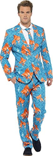 Herren Junggesellen Party Comedy Kostüm SEA LIFE Goldfish Stand Out Suit, ()
