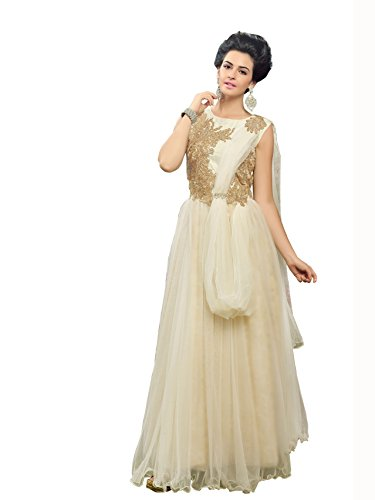 Blissta White partywear Anarkali Long Net Gown Dress material