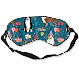 Aussie Australian Shepherd Birthday Party Sapphire Breathable Pure Silk Sleep Eye Mask Best Sleeping Eye Cover for Travel, Nap, Blindfold with Adjustable Strap for Men, Women or Kids