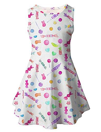 Chiolife Kleinkind Kind Baby Girls ärmellose Floral Candy gedruckt Kleid Party Hochzeit Kleid Kleidung Outfit für 3-7 Jahre alt (Für Party-kleid Mädchen 12 Altes Jahre)