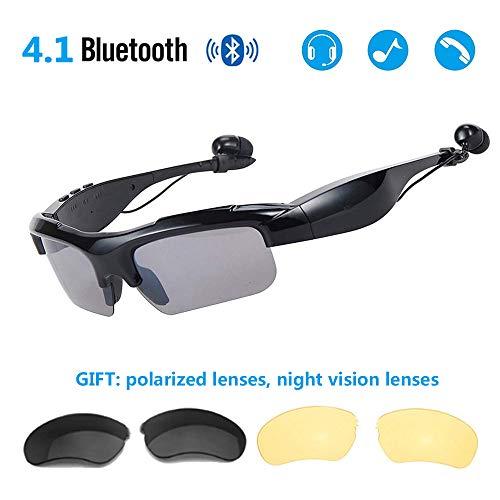 JEANN-YJGlasses Bluetooth-Sonnenbrille Kabelloser Bluetooth-Kopfhörer Stereo-Musik-Kopfhörer Freisprech-Fahrbrille Sport-Radsport-Sonnenbrille, passend für die meisten Smartphones. (Kabelloser Kopfhörer Für Läufer)